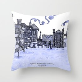 Victorian Frankwell Under Water, blue Throw Pillow
