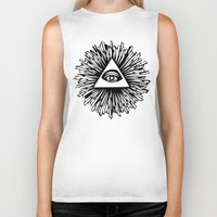 all seeing eye Biker Tanks featuring All seeing camera eye by dsimpson