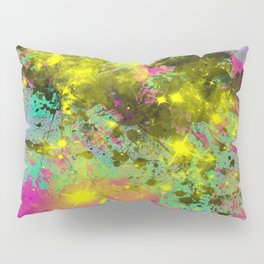 Stargazer - Abstract cyan, black, purple and yellow oil painting Pillow Sham