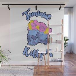Feminist Killjoy Print with Flower Crown Skull Wall Mural