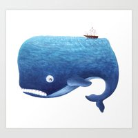 moby dick Art Prints featuring Moby Dick by Arianna Usai