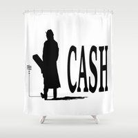 johnny cash Shower Curtains featuring CASH by shannon's art space