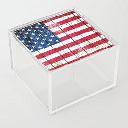 Distressed American Flag On Wood Planks - Horizontal Acrylic Box