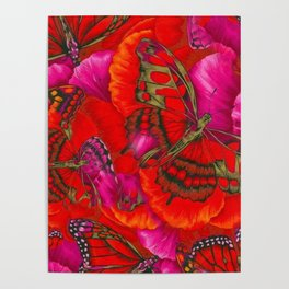 Red Butterfly Utopia Poster