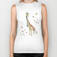 giraffe Biker Tanks featuring Giraffe by Catru
