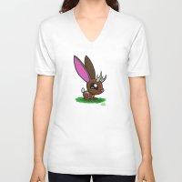 jackalope V-neck T-shirts featuring Baby Jackalope by Joe Havasy