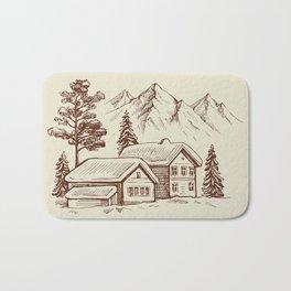 Wood Cabin in Winter Landscape Bath Mat