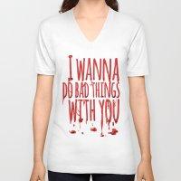true blood V-neck T-shirts featuring True Blood  by Lita Rebello