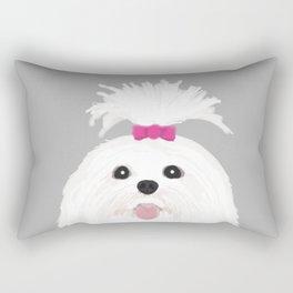Pima - Shih Tzu cute white funny dog art customizable gift for dog person dog lovers pet art Rectangular Pillow