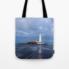 Dusk at St Mary's Lighthouse II Tote Bag