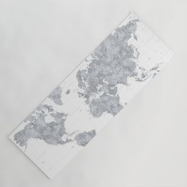 """Gray watercolor highly detailed world map, square, """"Jimmy"""" Yoga Mat"""