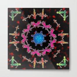 Alien Gemstone Mandala With Red Plasma Metal Print