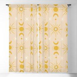 Yellow Sun & Moon Pattern Blackout Curtain