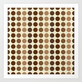 Shades Of Brown Polka Dots-Textured Art Print