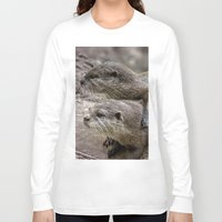 otters Long Sleeve T-shirts featuring My Girl by Paul & Fe Photography
