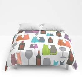 Cats and wine Comforters