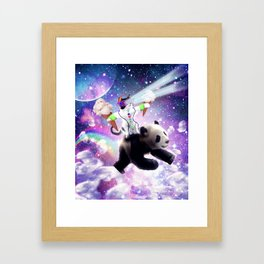 Lazer Rave Space Cat Riding Panda Eating Ice Cream Framed Art Print