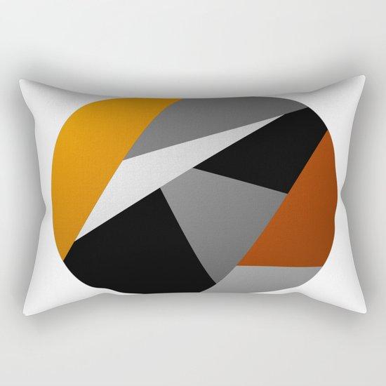 Metallic Moon - Abstract, metallic textured geometric moon space artwork Rectangular Pillow