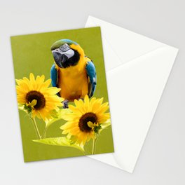 Blue-and-yellow macaw and sunflowers Stationery Cards