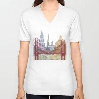 copenhagen V-neck T-shirts featuring Copenhagen skyline poster by Paulrommer