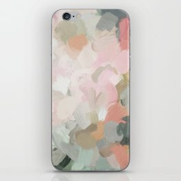 Forest Green Fuchsia Blush Pink Abstract Flower Spring Painting Art iPhone Skin