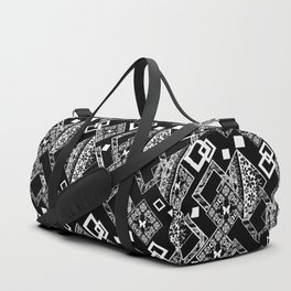 Black and white applique 2 Duffle Bag