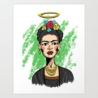 frida khalo Art Prints featuring Frida Khalo portrait  by Quinton Dreher
