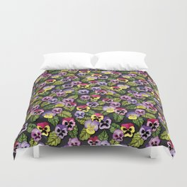 Purple, Red & Yellow Pansies With Green Leaves - Floral/Botanical Pattern Duvet Cover