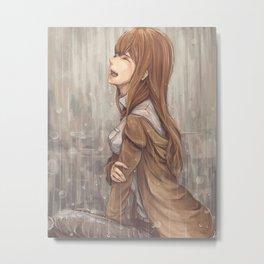Kurisu Makise cry in rain Metal Print