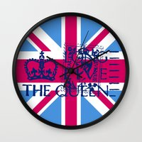 british flag Wall Clocks featuring British Flag in Pink by GraphicDivine