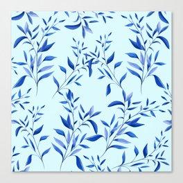 Blue Leaf Pattern Canvas Print