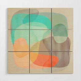 Shapes and Layers no.29 - Blue, Orange, Gray, abstract painting Wood Wall Art