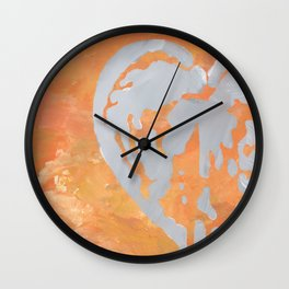 Heart/Dicentra stencil on orange Wall Clock