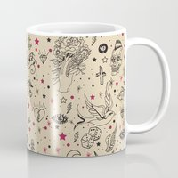 tattoos Mugs featuring Hand Drawn Flash Tattoos by PunkRockPlanet