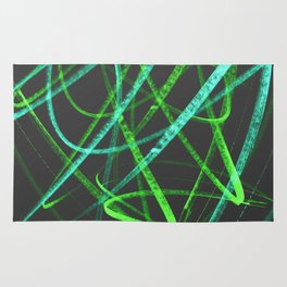 Lime Green and Aqua Wavy Lines on Black - Handstyles Rug
