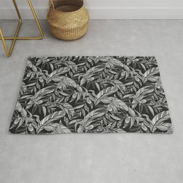 Black and White Feathers Rug
