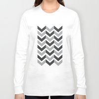 gray pattern Long Sleeve T-shirts featuring Gray Chevron Pattern by magnez2