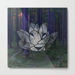 Lotus Lion Metal Print