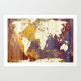 World Map in Old Wood Art Print