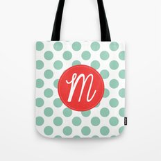 Monogram Initial M Polka Dot Tote Bag