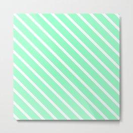 Mint Julep #2 Diagonal Stripes Metal Print