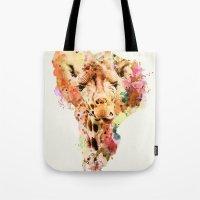 giraffe Tote Bags featuring giraffe by RIZA PEKER