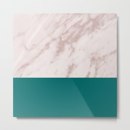 Real Rose Gold Marble and Biscay Bay Metal Print
