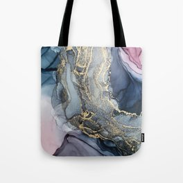 Blush, Payne's Gray and Gold Metallic Abstract Tote Bag
