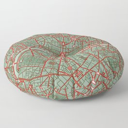 Paris city map pop Floor Pillow