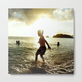Playing in the Sea, Sunset and Kids at the Beach Metal Print