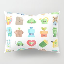CUTE GREEN / ECO / RECYCLE PATTERN Pillow Sham