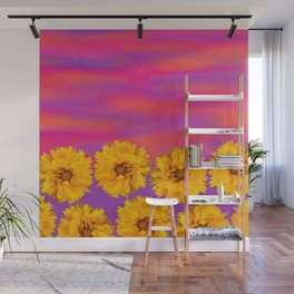 Yellow Floral Sunset Wall Mural