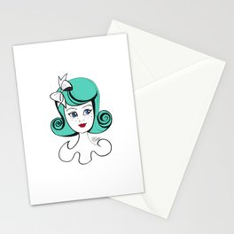 Cute Vintage Fashion Doll Sketch (Aqua hair and red lips) Stationery Cards