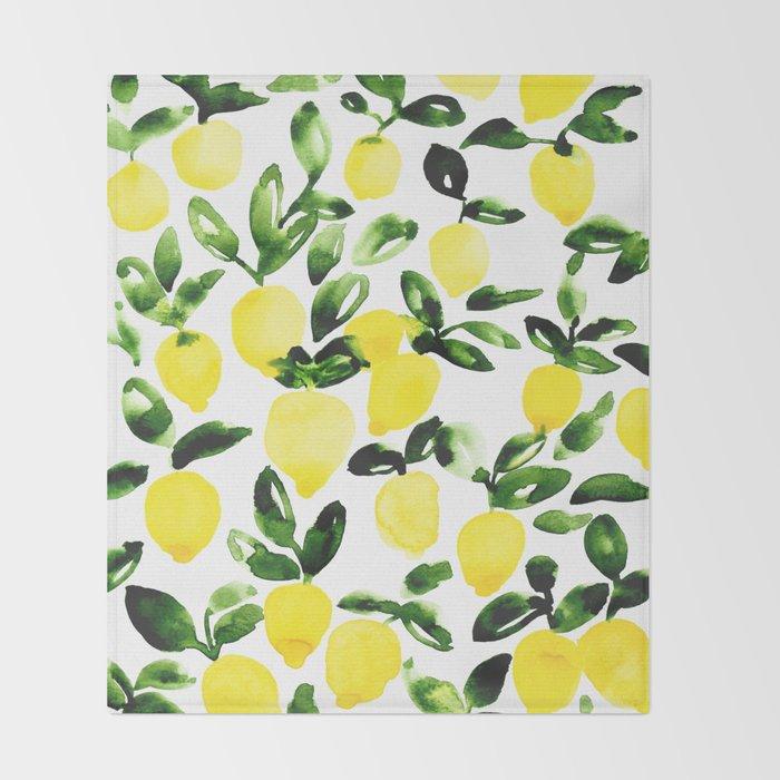 Summer Lemons Throw Blanket
